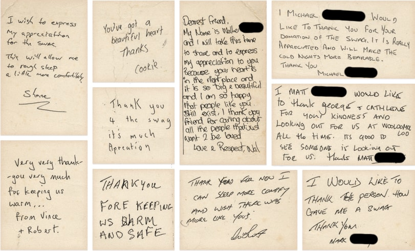 Thank you notes from homeless Backpack Bed recipients